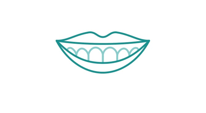 笑った時に上の歯茎が見える/下の歯しか見えないイメージ画像
